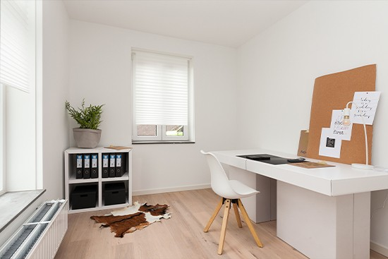 Home Office Staging con módulos de cartón cubiqz