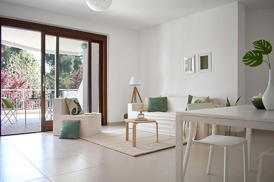 SDM Home Staging sofá y sillon de cartón Cubiqz con funda de tela Off White